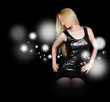 Woman in Black Fashion Dress with Sparkles