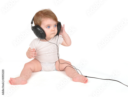 Young Baby Listening to Music Headphones