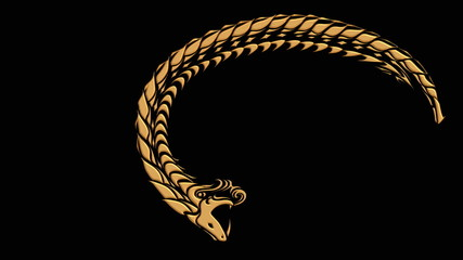 Ouroboros symbol in gold of snake eating its tail