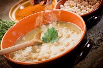 chickpeas soup on bowl-zuppa di ceci