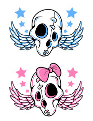 Skull with wings and stars