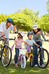 Family with their bikes