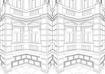 Abstract Building Eclectic Residential House Vector 02