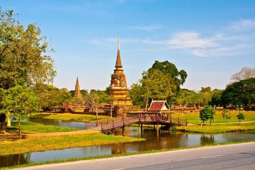Ancient pagoda in Ayutthaya with lake