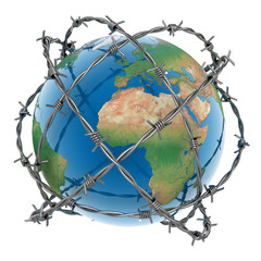 3d earth surrounded by barbed wire over white background