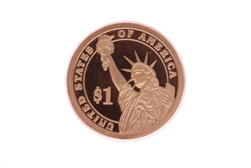 Uncirculated One Dollar Gold Coin with Statue of Liberty
