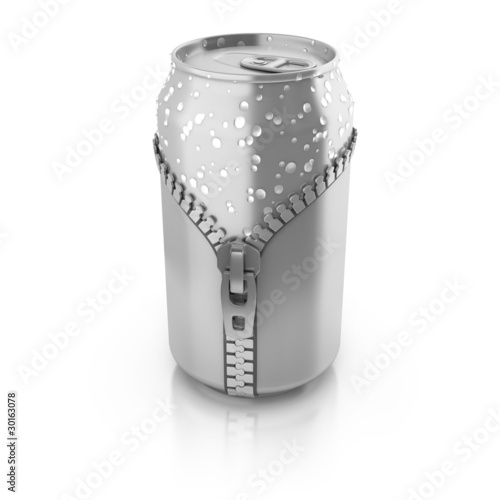 new fresh drink 3d concept - aluminium can unzipped