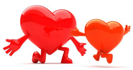 Heart shaped mascot baby running into parents hug