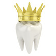 single tooth with golden crown 3d illustration