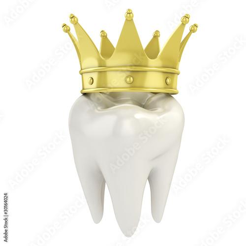 jeden zub se zlatou korunou 3D ilustrace