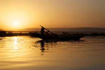Sunset on the river Niger
