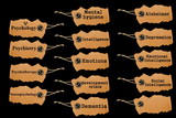 symbols of mental disorders on cardboard poster
