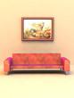 Zimmer mit Sofa und Bild