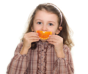 sorriso con fetta d'arancia