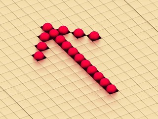 red balls ones forming an arrow on a background gold cubes