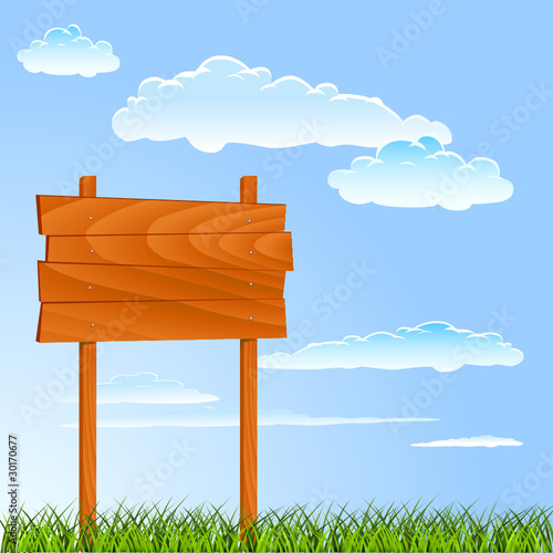 wooden sign with summer background