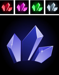 Collection of varios modern stylized gems on black
