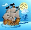 Old vessel in night seascape