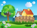 Jarní krajina se dvěma domy