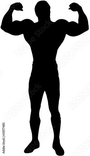 Icona di body builder: uomo che mostra i muscoli