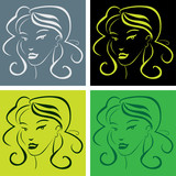 girl face in popart style - illustration poster