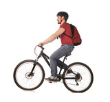 bicyclist on white. poster