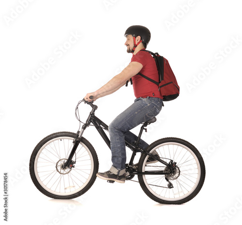 bicyclist on white.