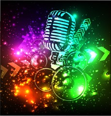 vector music background with microphone