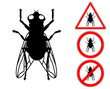 Fly pictogram warning and prohibition signs