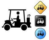 Golf cart pictogram and signs