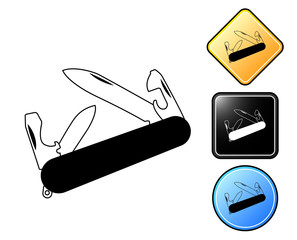 Knife utility pictogram and signs