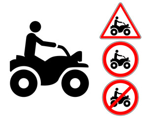 Quad rider pictogram warning and prohibition signs