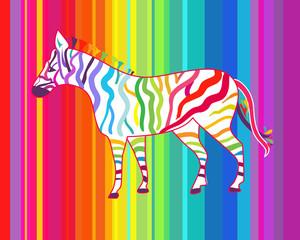 Bright illustration with zebra