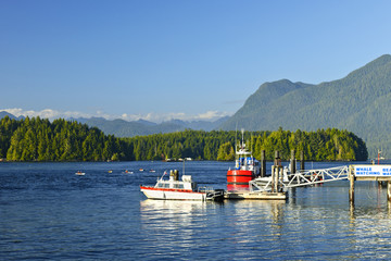 Boats at dock in Tofino, Vancouver Island, Canada
