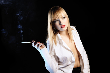 Sexy woman with cigarette