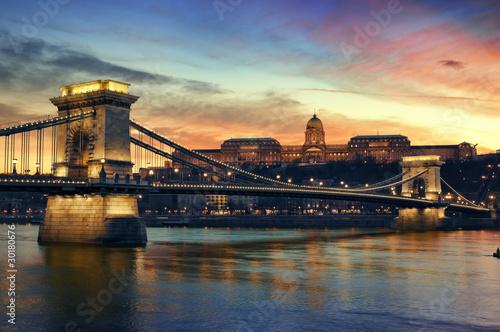 Poster Budapest at sunset.