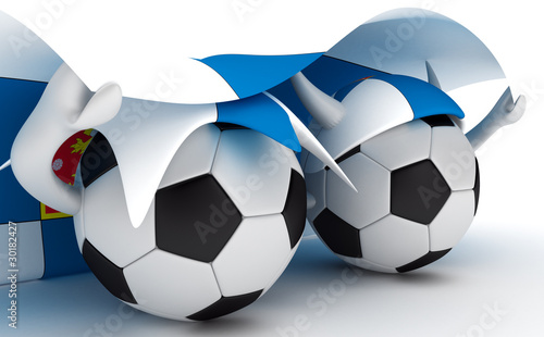 Two soccer balls hold Finland flag