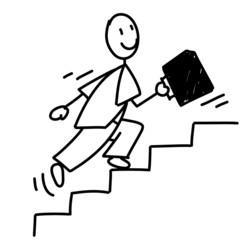 Homme d'affaire fonçant dans les escaliers