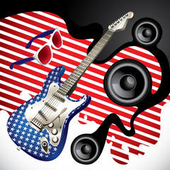 Designed background with stylish electric guitar.