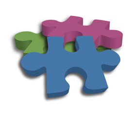 3 brightly colored puzzle pieces