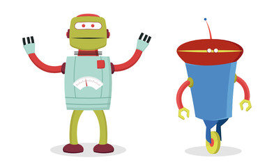 set of two retro robots for kids fun