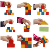 child hands playing with colored blocks collage