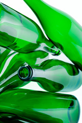 green glass bottles