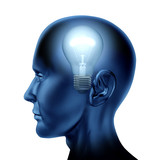 inventive idea dicovery Brain mind intelligence isolated poster