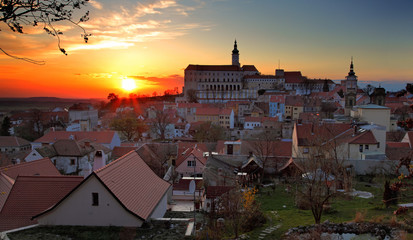 Nice historical castle in the czech republic in sunset - Mikulov