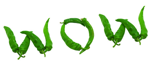 WOW text composed of green peppers
