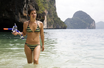 Young woman after snorkeling