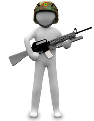 3D Business white man human shotgun figure