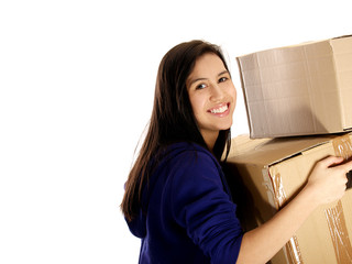 smiling teenage girl carrying carton boxes