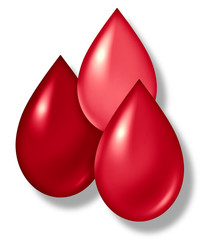Blood drops symbol of medical and health care industry